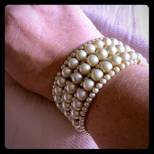 Vintage pearl and brass cuff